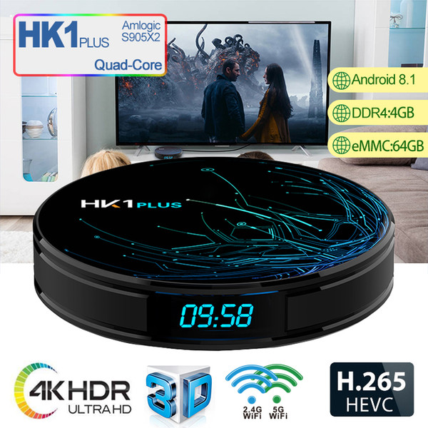 HK1 Plus Android 8.1 TV Box Amlogic S905X2 4GB 64GB ROM LED Display WIFI Dual Band 2.4G 5G BT4.1 Support 4K Media Player