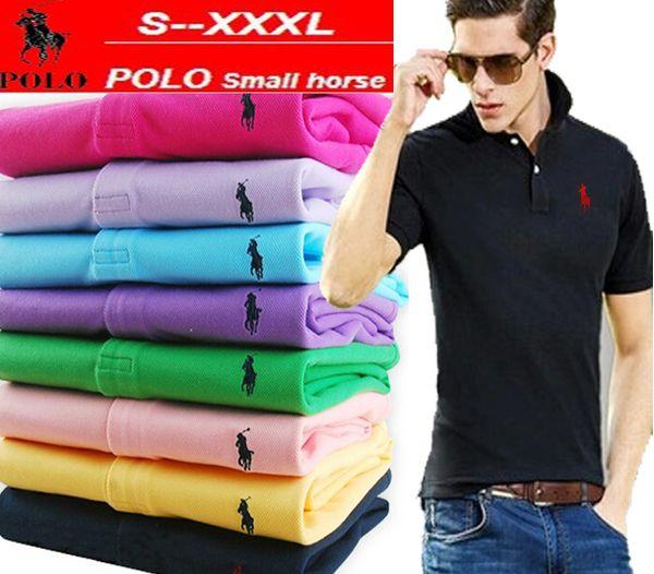 Nuevo 2019 de color sólido camisas de polo de verano de los hombres del caballo pequeño bordado de algodón de manga corta transpirable Slim Fit polos de marca S-5XL venta caliente