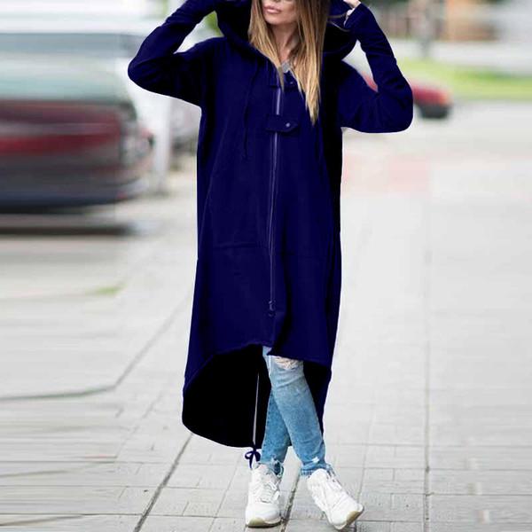 2019 Moda Kapüşonlu Trençkot Katı Fermuar Artı Boyutu 5XL Kadife Uzun Coat Kadınlar Uzun Kollu Gevşek Palto Giysi