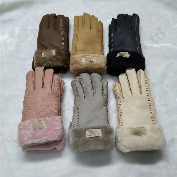 Brand Australia UG Suede Gloves Women Men Shearling Sheepskin Glovers Luxury Winter Warm Wateroof Fleece Leather Mittens Glove 2019 C101803
