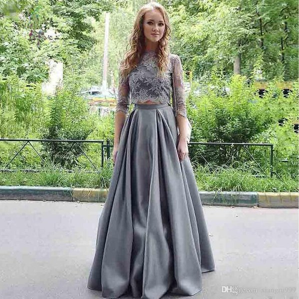Silver Grey Satin Two Pieces Prom Dress Elegant Applique Lace Jewel 3/4 Long Sleeve Evening Gowns Floor Length Simple Special Occasion Dress
