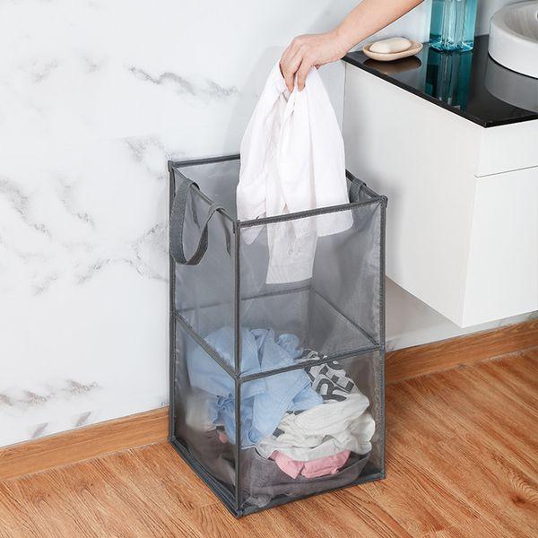 best selling Clothes Foldable pop up Laundry Basket Bag Hamper Mesh Storage Dirty Clothing Storage Basket double layer Storage Organizer