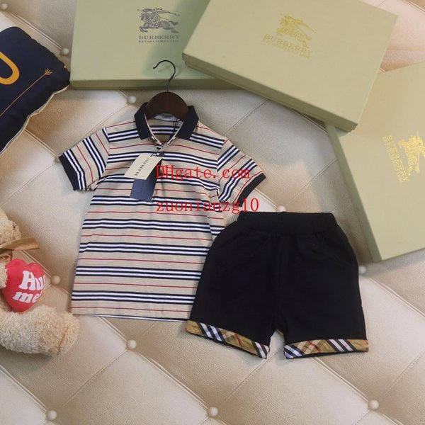 bambini vestiti ragazzi bambino tute stripe risvolto T-shirt + pantaloni corti casuali 2 pezzi vestito ragazza bambino vestiti vestiti per bambini AB-8