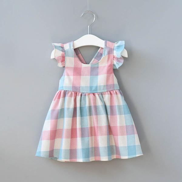 Bebek Kızlar Gökkuşağı Çizgili Pamuk Elbise Yaz Ruffles Ins Sıcak Satmak Yürüyor Bebek Elbiseleri A08