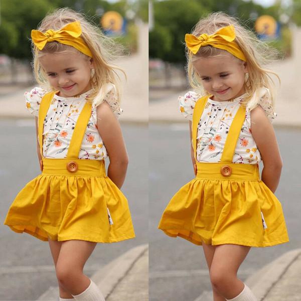 Kid della neonata 0-5Y vestiti tuta pagliaccetto tuta del pannello esterno della festa Outfits Set + fascia