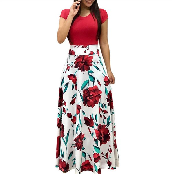 Women Summer Long Dress Floral Print Bohemian Beach Maxi Dress Casual Patchwork Short Sleeve Party Dresses Vestidos Verano 2018 Y190117