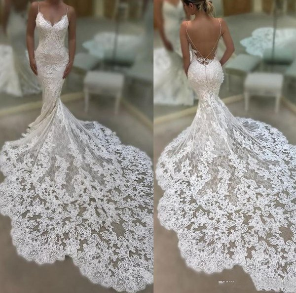 Cathedral Train Mermaid Beach Wedding Dresses 2019 Sexy Spaghetti Backless Full Lace Applique Summer Seaside Holiday Wedding Bridal Gown