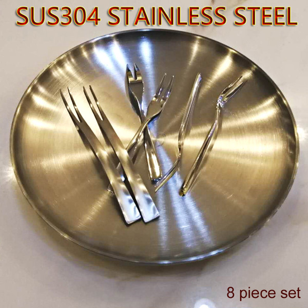 Fruit Plate Fork And Placemat Kit Eight Piece 304 Stainless Steel Tableware Eco-Friendly PP Placemat Dinner Plate Dessert Fork