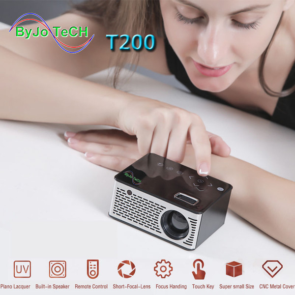 best selling 2018 NEW T200 LED Portable Pocket Projector 1920*1080 Support AV TF Card USB HDMI 5V-2A Power in Piano lacquer Touch button