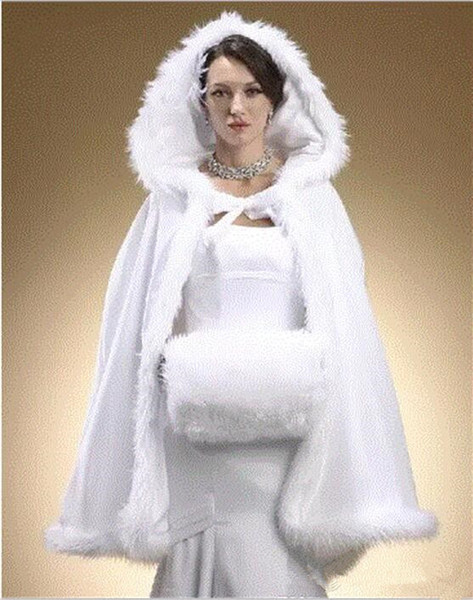 2019 Fur Wrap Winter Bridal Cape Faux Fur Christmas Cloaks Jackets Hooded For Winter Wedding Evening Cape for Winter Coat NO HAT