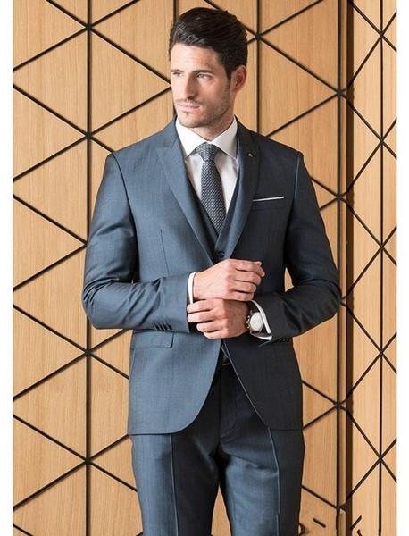 Brand New Cinza Noivo Smoking Picos Lapela Groomsmen Vestido De Casamento Excelente Homem Jaqueta Blazer 3 Peça Terno (Jacket + Pants + colete + Gravata) 1655