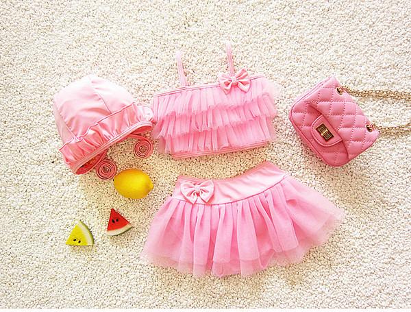 2019 cat1998 new hot sale Bebê verão meninas criança infantil menina dividir três peças pequeno flor biquíni maiô