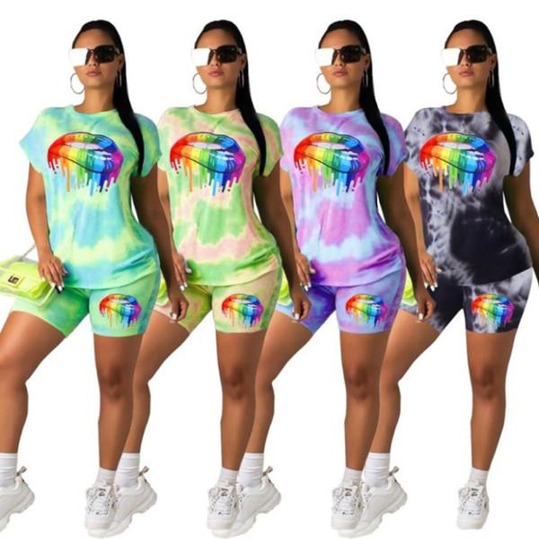 Bayan giyim tasarımcısı eşofman yaz tshirt şort suit sportsuit T-shirt Tee bayan Üstleri pantolon legging moda dudaklar baskı suit klw1751