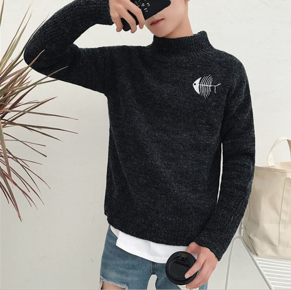 Fashion- Sweater Mens Black Cat And Fish Printed Men Women Lovers Winter Sweater shirt