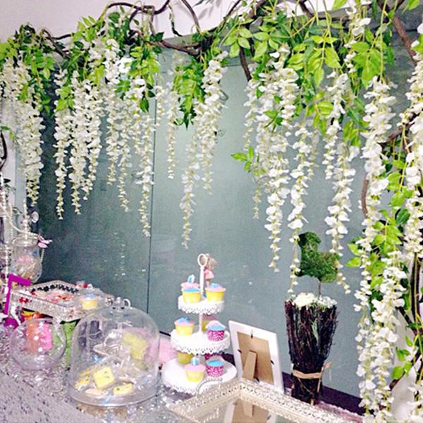 Silk Wisteria White Künstliche Blumen Vine Ivy Plant Gefälschte Baumgirlande Hängende Blume Hochzeitsdekor Für Hotel Dekoration