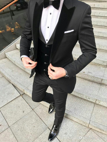 Latest Design Black Groom Tuxedos Men wedding Suits Velevt Peaked Lapel Man Blazer Jacket Three-Piece Groomsmen Wear Evening Prom Party