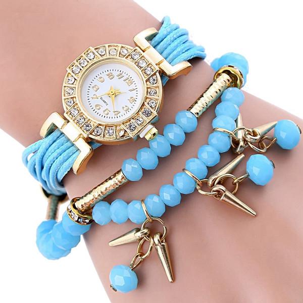 Новый супер моды для женщин Часы ретро браслет часы Синтетическая кожа кварцевые часы Pepper бисером платье MONTRE