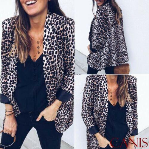 Casual Women's Leopard Print Blazer V Neck Slim Jacket Coat Vintage Outwear High Street New Fashion
