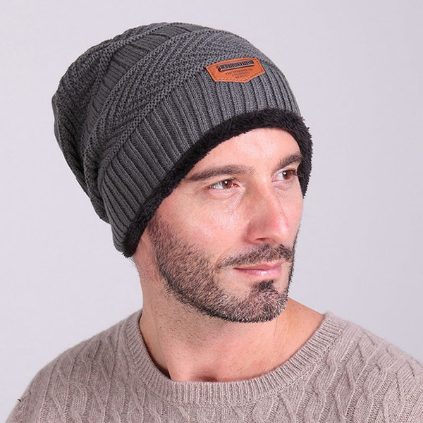 Hot! Men's Knit Wool Baggy Caps Winter Warm Hip-hop Beanie Crochet Hat Black/Deep Gray/Blue/Coffee/Khaki/Red