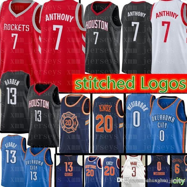 new product cf852 2e6d6 2019 7 Carmelo Anthony Rockets Jersey 13 Harden 3 Chris Paul 0 Russell  Westbrook 13 Paul George Thunder 20 Kevin Knox From Chunghua_jersey, $25.72  | ...
