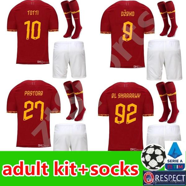 2019 2020 AS roma Home soccer Jerseys men kit 19 20 DZEKO TOTTI rome Camisetas football Shirt De Rossi Farewell match uniforms