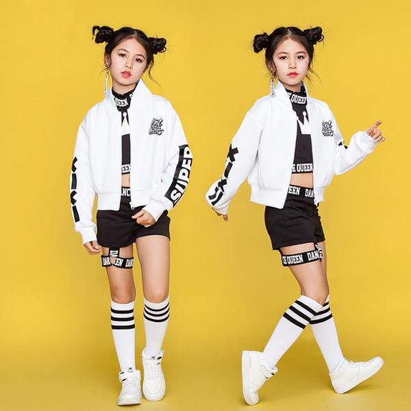 Дети хип-хоп танцевальные костюмы дети уличный танец одежда белая куртка черный жилет шорты девушки танцевальная одежда сценический наряд YY982