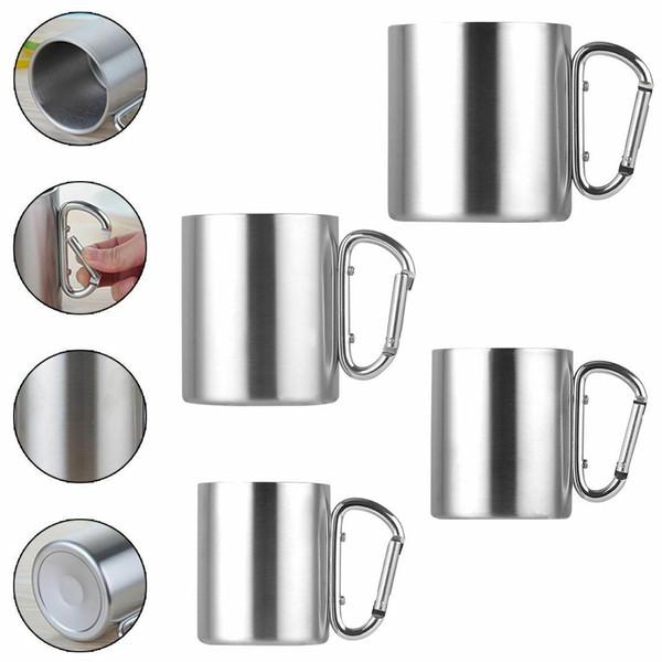 220 ml / 300 ml / 350 ml / 450 ml en acier inoxydable tasse camping tasse en plein air avec la poignée de crochet de mousqueton bouteille d'eau extérieure CCA11713 25pcs