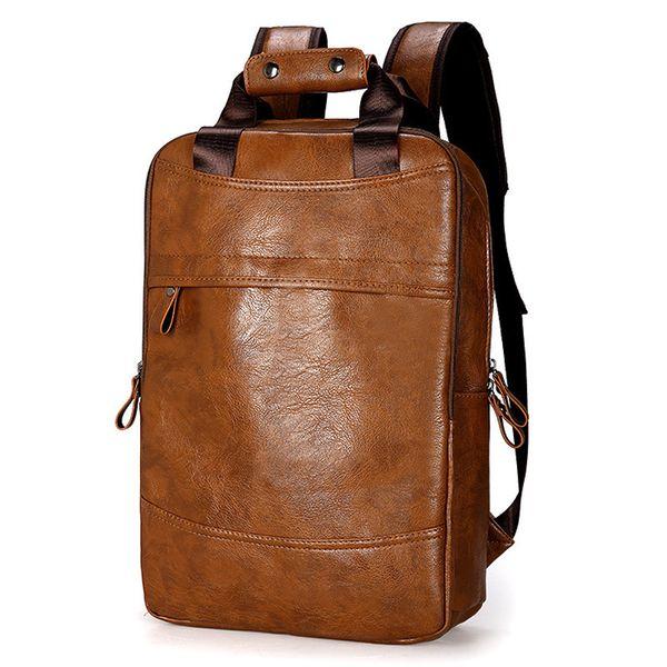 Fashion Men Backpack Waterproof Pu Leather Travel Bag Man Big Capacity Male Laptop Bag Teenager Backpacks