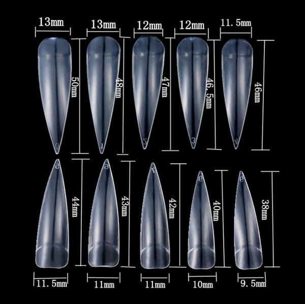 best selling 500PCS Long Stiletto Pointy Half Cover False Fake Artificial Nail Tips Art Tool for Nail Art Decoration Design (Clear)