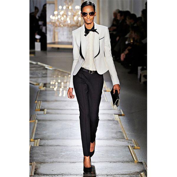 Spring Womens Business Suits Black White Office Uniform Designs Women Tuxedo Female Trouser Suits Formal Wear Work 2 Oiece Suits
