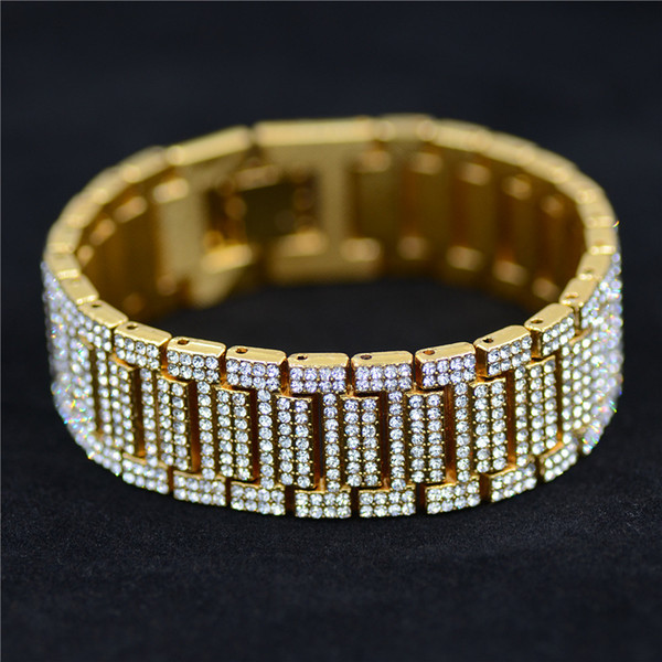 Men's Full Crystal Bracelet Gold Miami Curb Cuban Link Chain Bracelets For Men Iced Out Hip Hop Jewelry Dropshipping