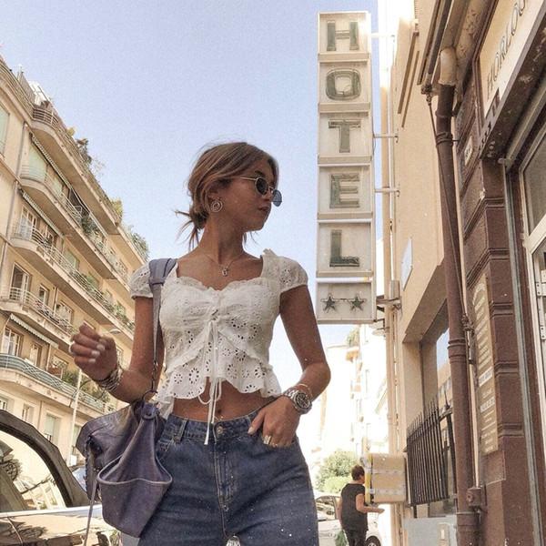 Boho Camisa de blusa de encaje blanco para mujer Blusa con volantes ahuecada Blusas Mujer Espalda con cordones Blusa de moda Streetwear Lady Top