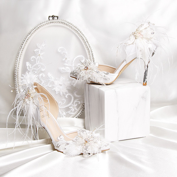 2020 Stylish Pearls Flat Wedding Shoes For Bride Prom High Heels