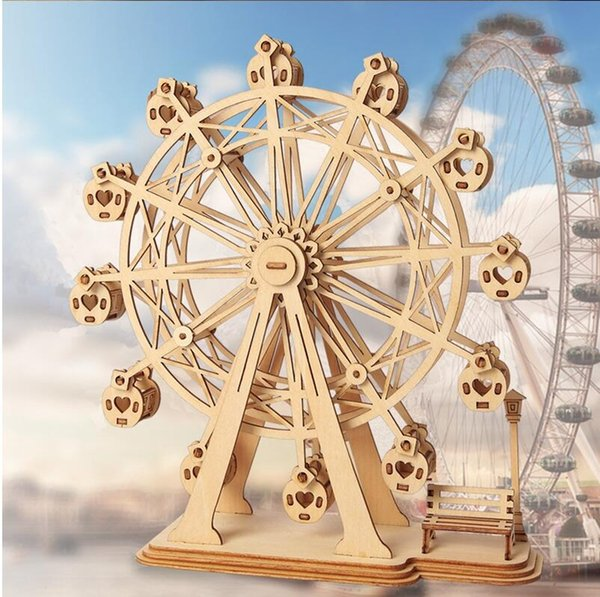 DIY 3D Laser Cutting Wooden Ferris Wheel Puzzle Game Gift for Children Kids Model Building Kits Popular Toy Intelligence toys