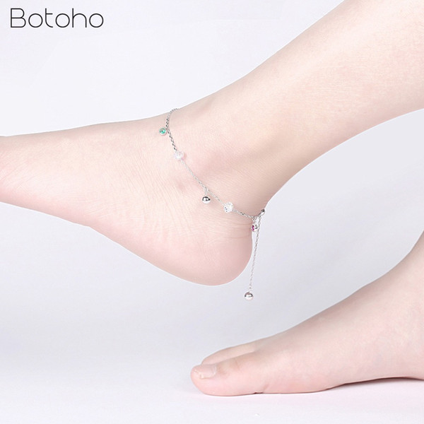 925 Sterling Silver Anklet Halhal for Woman Accessories with Crystal Anklet Bracelets Fashion Jewelry Anniversary Party Gifts
