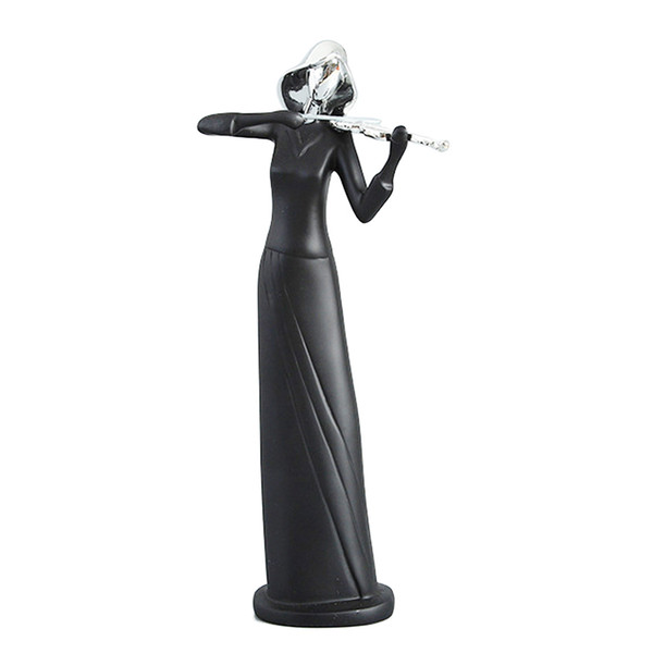 best selling Classic Music Band Figurines Resin Art Abstract Musician Figurine Musical Instrument Statue Violin Player Figurine-Black Color