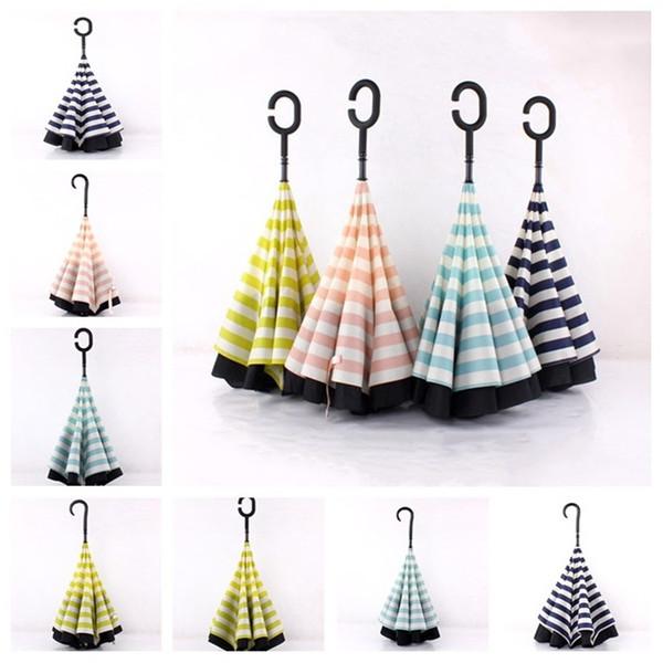 Nova textura Naval Reversa Umbrella Windbreak Fibra Óssea Ao Ar Livre Sombrinha Guarda-chuva Moda Umbrella T3I5070
