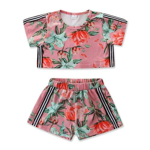 2019 fashion floral shorts sets summer casual outfits kids boutique clothing little girls clothes baby short sleeve shirts striped two piece