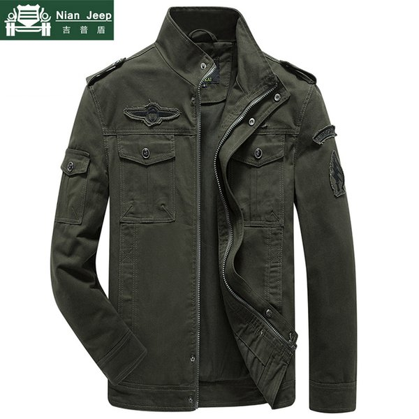 Chaqueta de talla grande para hombre Primavera Otoño Algodón Army Solid Chaquetas y abrigos para hombre Chaqueta de bombardero con brazalete de moda Hombre M-6XL