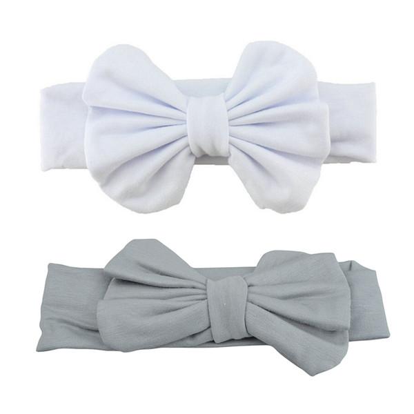 Cute Baby Girls Kids Stretch Bowknot Headband Hairband (Grey & White 2 PCS)