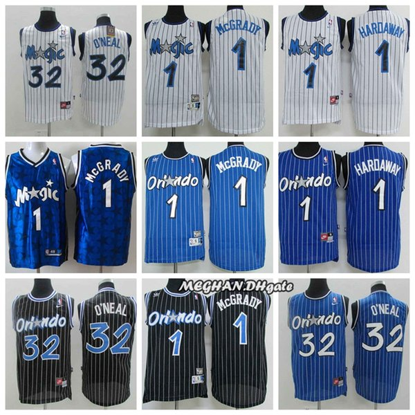 huge selection of fa520 d908a 2018 Retro Men Orlando Basketball Magic Jersey 1 Tracy McGrady Mitchell &  Ness Blue 32 Shaquille O'Neal 1 Penny Hardaway Stitching Jerseys From ...