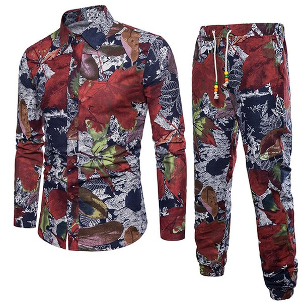 Fashion Tracksuits Maple Leaf Party Suits Europe Man Big Size 5XL Floral Sets Holiday Costume Long Shirt Pant Linen High Quality