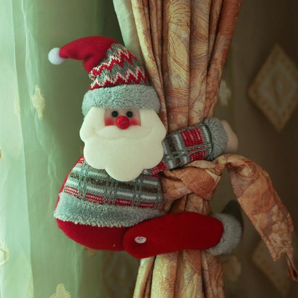 Christmas Decorations Santa Clause Deer Curtain Buckle Holder Clip Tieback Display Window Living Room Xmas Gifts 3 Styles XD20000