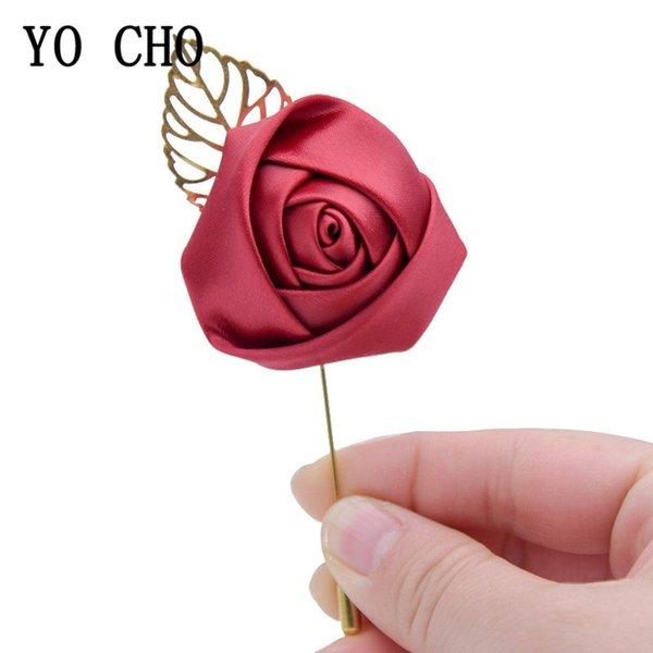 YO CHO Silk Rosen Frauen Brosche Kleid Dekor Hochzeit Korsagen und -sträußchen Blumen Golden Leaf Blume im Knopfloch Mariage Red Hochzeit Corsage Pin