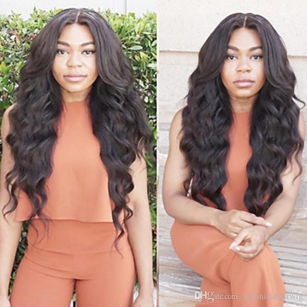 Charming Natural Black Long Wavy Wig Natural Looking 1b# Loose Wave Heat Resistant Gluelese Synthetic Lace Front Wigs for Black Women