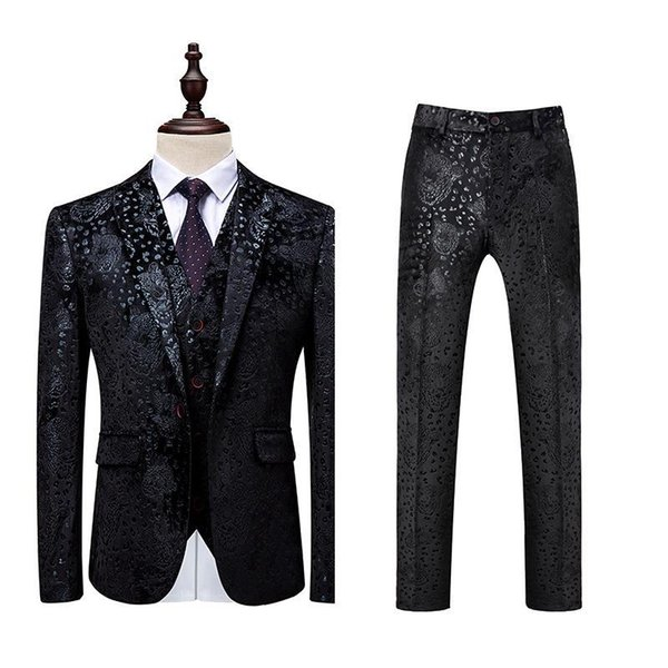 Herren Schwarz Hochzeitsanzug Abendkleid Smoking Slim Fit Fashion Blumen Patchwork-Männer 3 Stück Anzug Designer Formal Anzüge für Männer DT534
