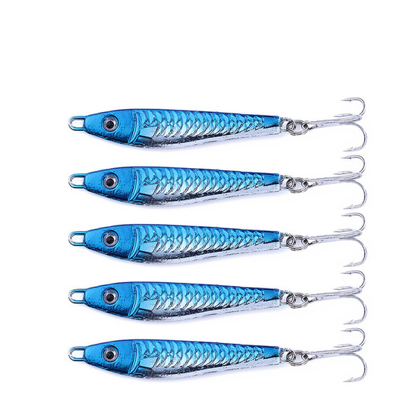 Hot Lead Fish Laser Spoons Lures 8cm 28g Blue color Blade Casting Iron Metal Jigs baits