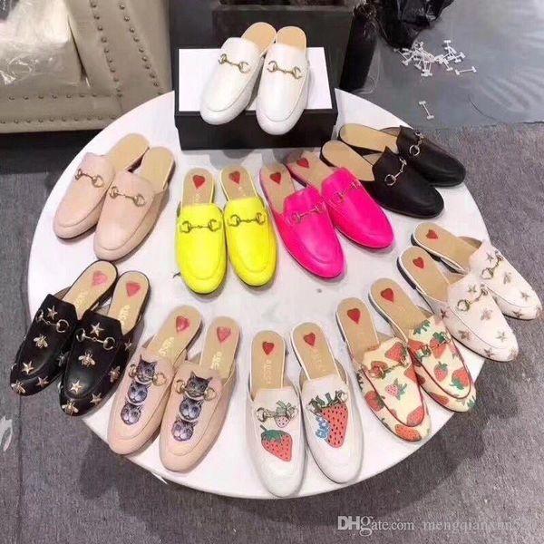 zapatillas para hombres mujeres Baotou 2019 suave piel de vaca plana playa al aire libre perezoso zapatillas 100% de cuero del diseñador de terciopelo zapatillas de lujo de dibujos animados 34-46