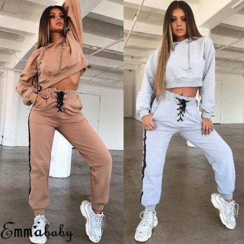 2 teile / satz Frauen Damen Mode Hoodies Hosen Lässige Trainingsanzug Jogging Gym Sets Mode Anzug