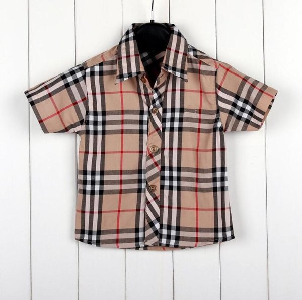 best selling 2019 Fashion Kids clothes t Shirt Children Lapel Short sleeves T shirts Boys Tops Clothing Brands Plaid stripe Tees Girls Classic Cotton top